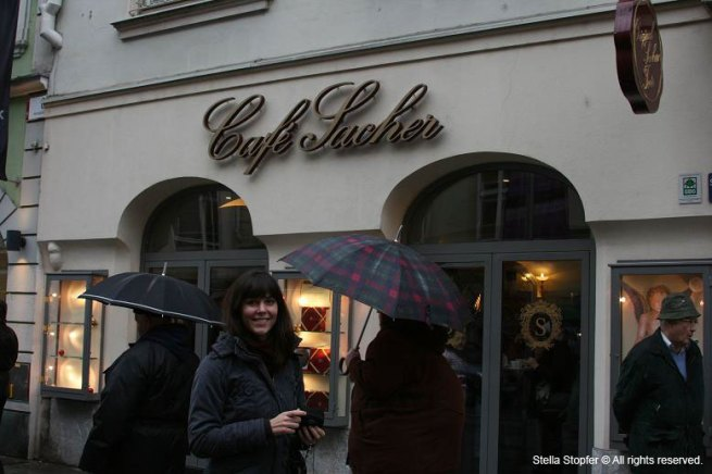 Matea in front of Cafe Sacher